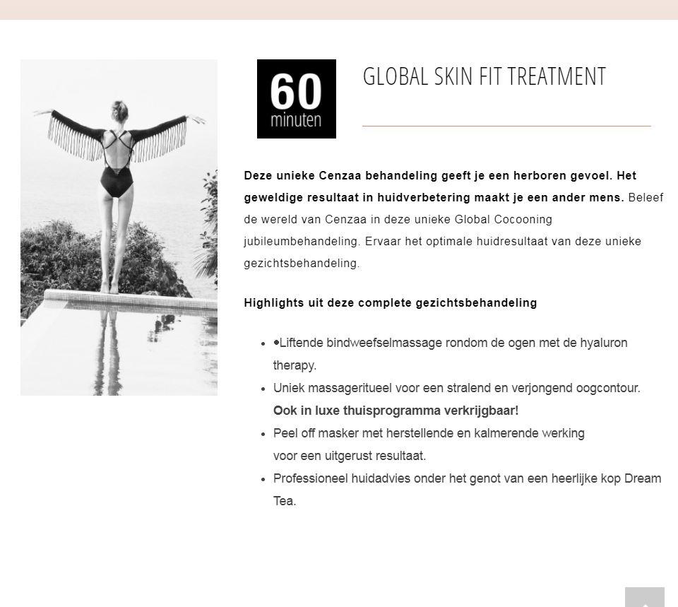 MIJN schoonheidsspecialiste - Global cocooning - Global skin fit treatment 60 minuten